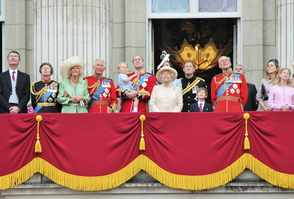 The Queen and members of the royal family on the balcony at Buckingham Palace for last years celebrations.
